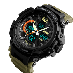 Zegarek MĘSKI SPORTOWY LED SKMEI 1343 khaki - KHAKI