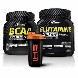 OLIMP BCAA Xplode - 500g + Glutamine Xplode - 500g + Shaker - 700ml