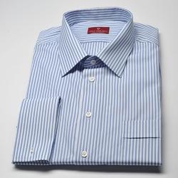 Elegancka koszula męska VAN THORN Slim Fit w biało niebieskie paski 50
