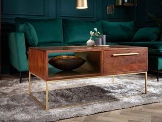 Elegancki drewniany stolik kawowy z szufladami straight na złotych nogach  110x60x50 cm