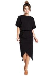 Sukienka z kopertowym dołem i kimonowymi rękawami czarna b029