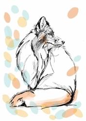 Pastelowy lis - plakat wymiar do wyboru: 20x30 cm