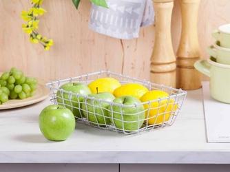 Koszyk metalowy  druciany na owoce szary altom design prostokątny mały