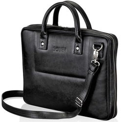 Skórzana torba męska na laptopa czarna solier - czarny