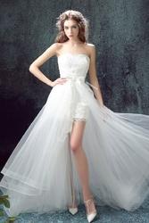 Delikatna suknia ślubna z odpinanym dołem i gipiurą 2 w 1 nicole 005