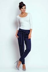 Granatowe stylowe spodnie z wiązaną szarfą