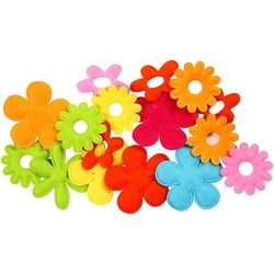 Kolorowe kwiatki z filcu - zestaw 16 szt.