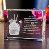 Muffinka 3d • personalizowany kryształ 3d duży • grawer 3d