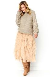Casualowy sweter z bufiastym rękawem - beżowy