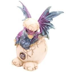 Smocze jajo i fioletowe smoczątko - figurka fantasy