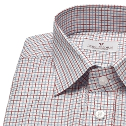 Biała koszula van thorn w niebieską i czerwoną kratę z półwłoskim kołnierzykiem 48