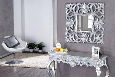 Srebrne lustro venice w stylu glamour