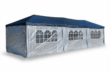 Pawilon handlowy 3x9 m, niebiesko biały namiot ogrodowy