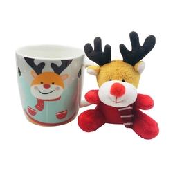 Kubek porcelanowy świąteczny dla dzieci  na prezent altom design renifer z maskotką 300 ml