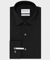 Extra długa czarna koszula Michaelis z kołnierzem klasycznym 39