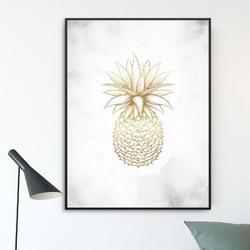 Plakat w ramie - golden ananas , wymiary - 70cm x 100cm, ramka - czarna