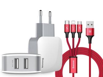 Ładowarka sieciowa baseus 2x usb 2.4a letour +kabel 3w1 iphone micro usb-c