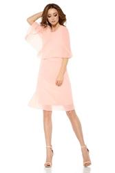 Łososiowa elegancka wieczorowa sukienka z narzutką