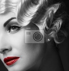 Obraz elegancka blond kobieta retro