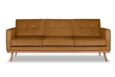Sofa fern z funkcją spania welurowa 3-osobowa  deluxe - welur łatwozmywalny wood