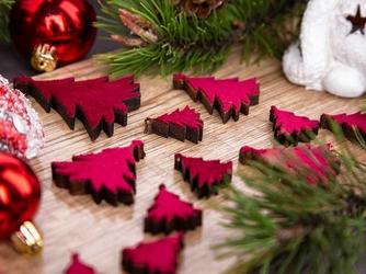 Dekoracje świąteczne  ozdoby choinki na boże narodzenie altom design drewniane z welurowym frontem, bordowe 20 sztuk