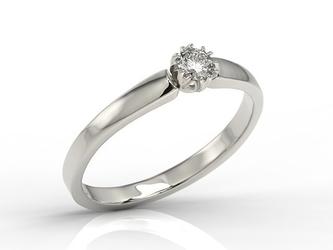 Pierścionek zaręczynowy z białego złota z brylantem 0,16 ct wzór bp-2116b