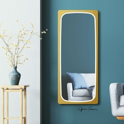 Prostokątne lustro feloni light z oświetleniem led z ramą  kolorze złotym