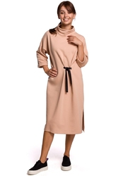 Dzianinowa sukienka z wiązaniem w pasie beżowa