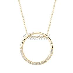 Srebrny naszyjnik pr.925 okrąg z cyrkoniami - żółte złoto