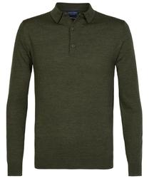 Elegancki zielony sweter polo z długimi rękawami  M