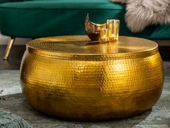 Złoty stolik kawowy orient z młotkowanego aluminium  70x30x70 cm cm