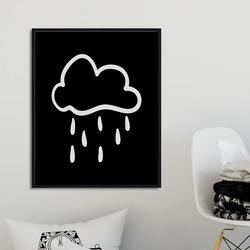 Scandi cloud - plakat dla dzieci , wymiary - 70cm x 100cm, kolor ramki - biały