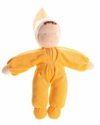 Laleczka mięciutka 0+, żółta, Grimms - żółta