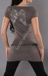 Sweter z kryształkowymi skrzydłami, brązowy 3177