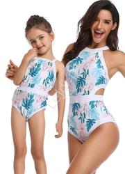 Jednoczęściowy strój kąpielowy dla mamy i córki na plaże i basen