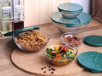 Miseczki  salaterki szklane z zielonymi pokrywkami altom design, komplet 5 misek szklanych