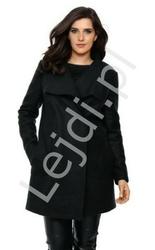 Wełniany lekki płaszczyk w kolorze czarnym, jesienne płaszcze damskie