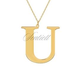Srebrny pozłacany naszyjnik pr.925 literka u - żółte złoto  u