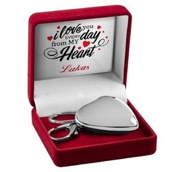 Duży brelok serce prezent na walentynki urodziny z grawerem
