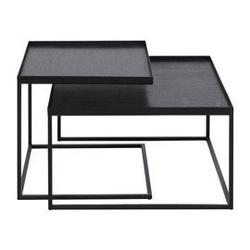 Ethnicraft :: zestaw dwóch stolików kawowych square tray czarnych bez tac