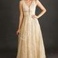 Złota sukienka wieczorowa w brokatowy kwiatowy wzór 2214