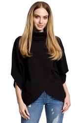 Bluza kopertowa z golfem i szerokimi rękawami czarna m372