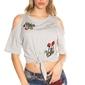 Szara koszulka wiązana w talii z odkrytymi ramionami i naszywkami z kwiatowym haftem