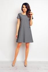 Szara trapezowa sukienka z krótkim rękawem