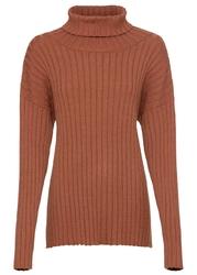 Sweter w prążek oversized bonprix kasztanowy