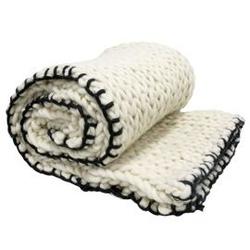 Hk living :: pled z grubo tkanej wełny 12x18 biały