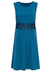 Sukienka z dżerseju z koronkową wstawką bonprix niebieskozielony morski