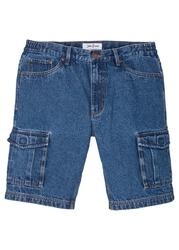 """Bermudy dżinsowe bojówki regular fit, z elastycznymi wstawkami po bokach w talii bonprix niebieski stone"""""""