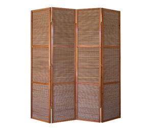 Parawan drewniany 4-skrzydłowy brązowy, wypełnienie bambusowe