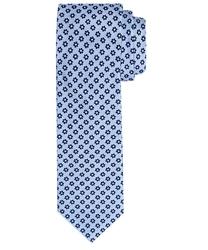 Elegancki błękitny krawat profuomo w bordowe kwiatuszki